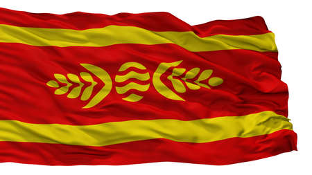Kocani Municipality City Flag, Country Macedonia, Isolated On White Background Stock Photo