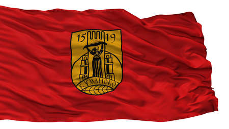 Kumanovo Municipality City Flag, Country Macedonia, Isolated On White Background