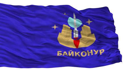 Baykonur City Flag, Country Kazakhstan, Isolated On White Background