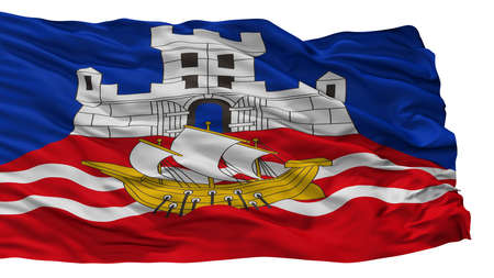 Belgrade City Flag, Country Serbia, Isolated On White Background