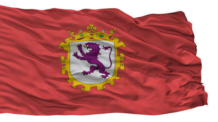 Leon, Ciudad City Flag, Country Spain, Isolated On White Background