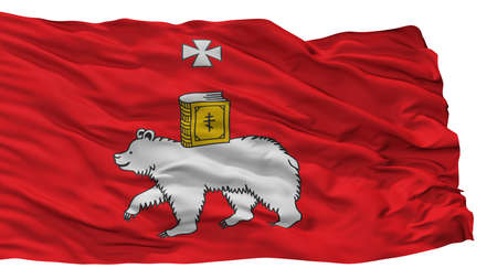 Perm City Flag, Country Russia, Isolated On White Background