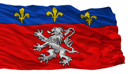 Lyon City Flag, Country France, Isolated On White Background