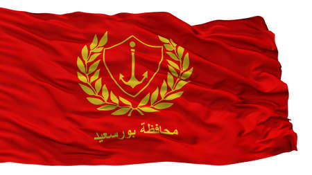 Port Said City Flag, Country Egypt, Isolated On White Background Stock Photo