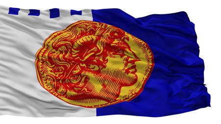Thessaloniki City Flag, Country Greece, Isolated On White Background