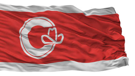 Calgary City Flag, Country Canada, Alberta Province, Isolated On White Background Stock Photo