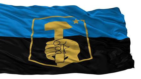 Donetsk City Flag, Country Ukraine, Isolated On White Background Stock Photo