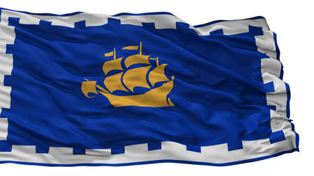 Quebec City City Flag, Country Canada, Isolated On White Background