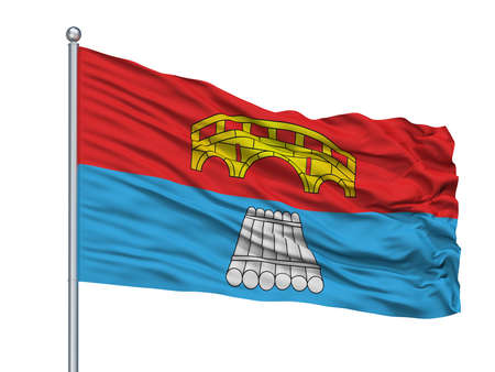 Mosty City Flag On Flagpole, Country Belarus, Isolated On White Background