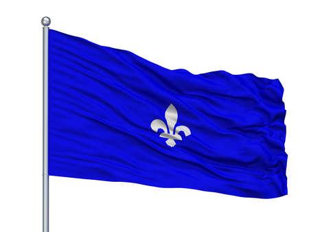 Mesenvlag City Flag On Flagpole, Country Belgium, Isolated On White Background