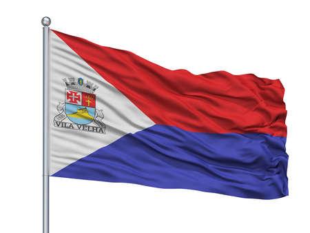 Vila Velha City Flag On Flagpole, Country Brasil, Espirito Santo, Isolated On White Background Banco de Imagens