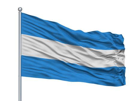 Tienen City Flag On Flagpole, Country Belgium, Isolated On White Background Stock Photo