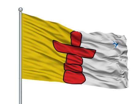 Nunavut City Flag On Flagpole, Country Canada, Isolated On White Background
