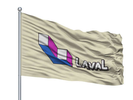 Laval City Flag On Flagpole, Country Canada, Quebec Province, Isolated On White Background