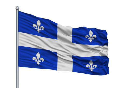 Quebec City Flag On Flagpole, Country Canada, Isolated On White Background