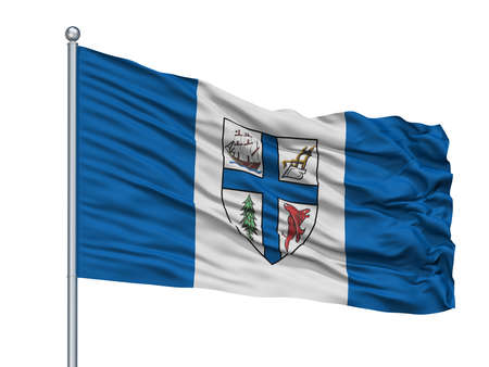 New Westminster City Flag On Flagpole, Country Canada, British Columbia Province, Isolated On White Background 写真素材