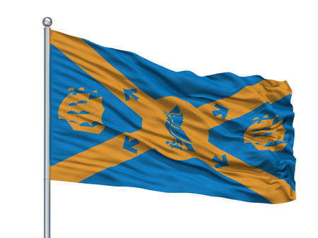 Halifax  City Flag On Flagpole, Country Canada, Isolated On White Background Stock Photo