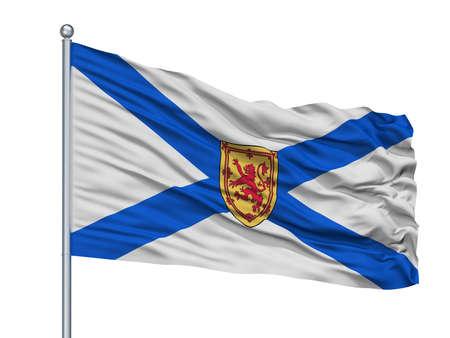 Nova Scotia City Flag On Flagpole, Country Canada, Isolated On White Background