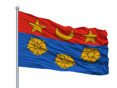 Longueuil City Flag On Flagpole, Country Canada, Quebec Province, Isolated On White Background