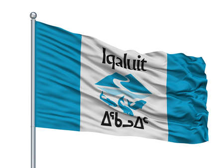 Iqaluit City Flag On Flagpole, Country Canada, Nunavut Province, Isolated On White Background