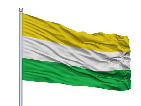 Gamarra City Flag On Flagpole, Country Colombia, Cesar Department, Isolated On White Background