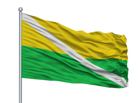 Chiriguana City Flag On Flagpole, Country Colombia, Cesar Department, Isolated On White Background