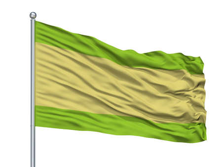 Pueblobello City Flag On Flagpole, Country Colombia, Cesar Department, Isolated On White Background Imagens