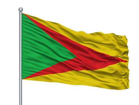 Paz De Ariporo City Flag On Flagpole, Country Colombia, Casanare Department, Isolated On White Background Imagens