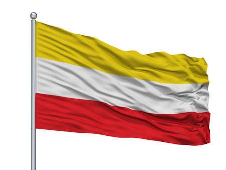 Paz De Rio City Flag On Flagpole, Country Colombia, Isolated On White Background