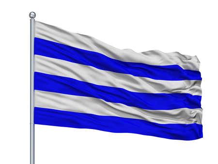 Dunkirk City Flag On Flagpole, Country France, Isolated On White Background Stockfoto