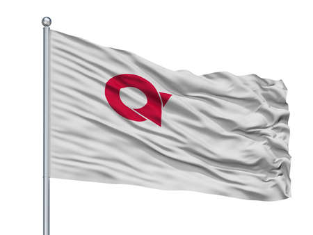 Ayabe City Flag On Flagpole, Country Japan, Kyoto Prefecture, Isolated On White Background Banque d'images