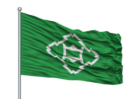 Ikeda City Flag On Flagpole, Country Japan, Osaka Prefecture, Isolated On White Background Banque d'images