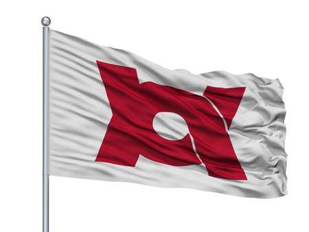 Kameoka City Flag On Flagpole, Country Japan, Kyoto Prefecture, Isolated On White Background
