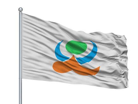 Kami City Flag On Flagpole, Country Japan, Kumamoto Prefecture, Isolated On White Background