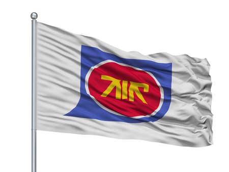 Kanoya City Flag On Flagpole, Country Japan, Kagoshima Prefecture, Isolated On White Background