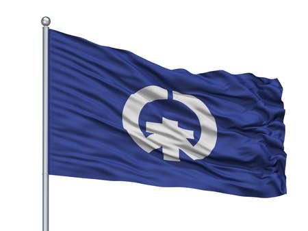 Kisarazu City Flag On Flagpole, Country Japan, Chiba Prefecture, Isolated On White Background