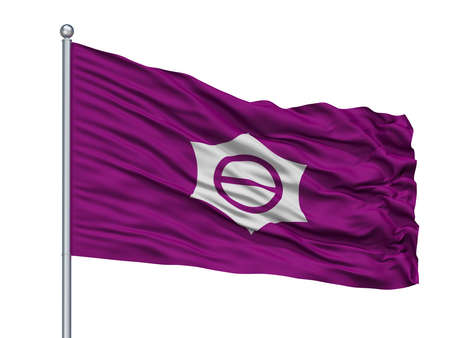 Meguro City Flag On Flagpole, Country Japan, Tokyo Prefecture, Isolated On White Background