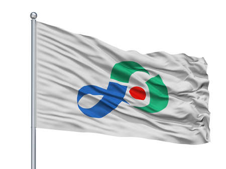 Iyo City Flag On Flagpole, Country Japan, Ehime Prefecture, Isolated On White Background
