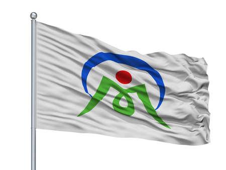 Mimasaka City Flag On Flagpole, Country Japan, Okayama Prefecture, Isolated On White Background