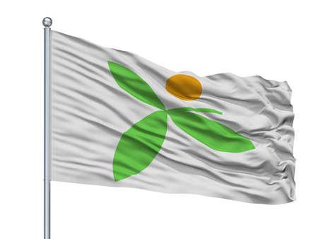 Miyawaka City Flag On Flagpole, Country Japan, Fukuoka Prefecture, Isolated On White Background