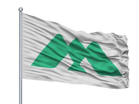Myoko City Flag On Flagpole, Country Japan, Nigata Prefecture, Isolated On White Background