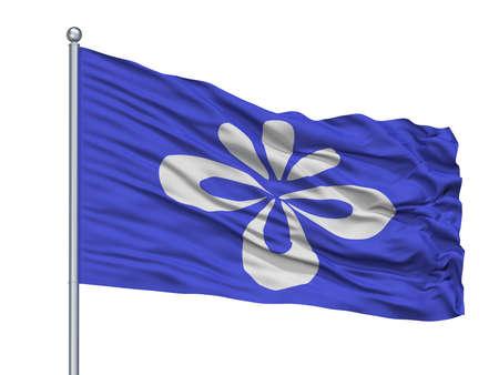 Nagai City Flag On Flagpole, Country Japan, Yamagata Prefecture, Isolated On White Background