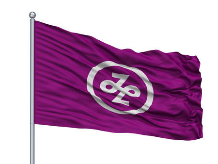 Minato City Flag On Flagpole, Country Japan, Tokyo Prefecture, Isolated On White Background