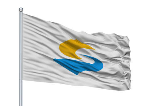 Sado City Flag On Flagpole, Country Japan, Niigata Prefecture, Isolated On White Background Banco de Imagens