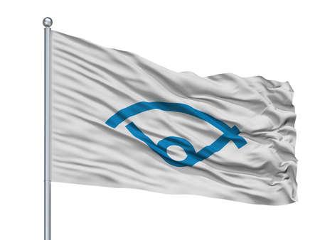 Sukagawa City Flag On Flagpole, Country Japan, Fukushima Prefecture, Isolated On White Background Banque d'images