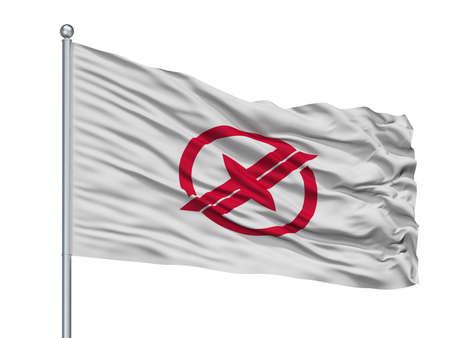 Takarazuka City Flag On Flagpole, Country Japan, Hyogo Prefecture, Isolated On White Background