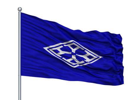 Yamatokoriyama City Flag On Flagpole, Country Japan, Nara Prefecture, Isolated On White Background