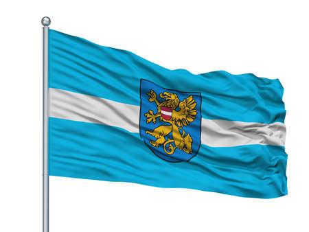 Dagda City Flag On Flagpole, Country Latvia, Isolated On White Background