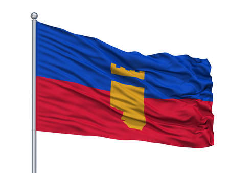 Prilep Municipality City Flag On Flagpole, Country Macedonia, Isolated On White Background Stockfoto