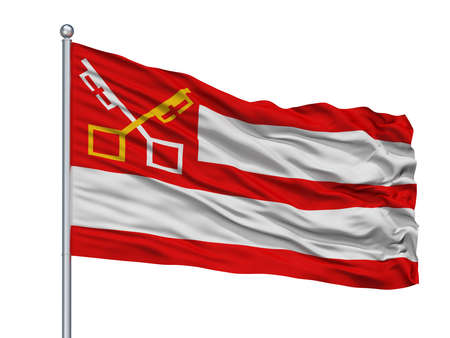 Bergen City Flag On Flagpole, Country Netherlands, Noord Holland, Isolated On White Background Foto de archivo - 106950471
